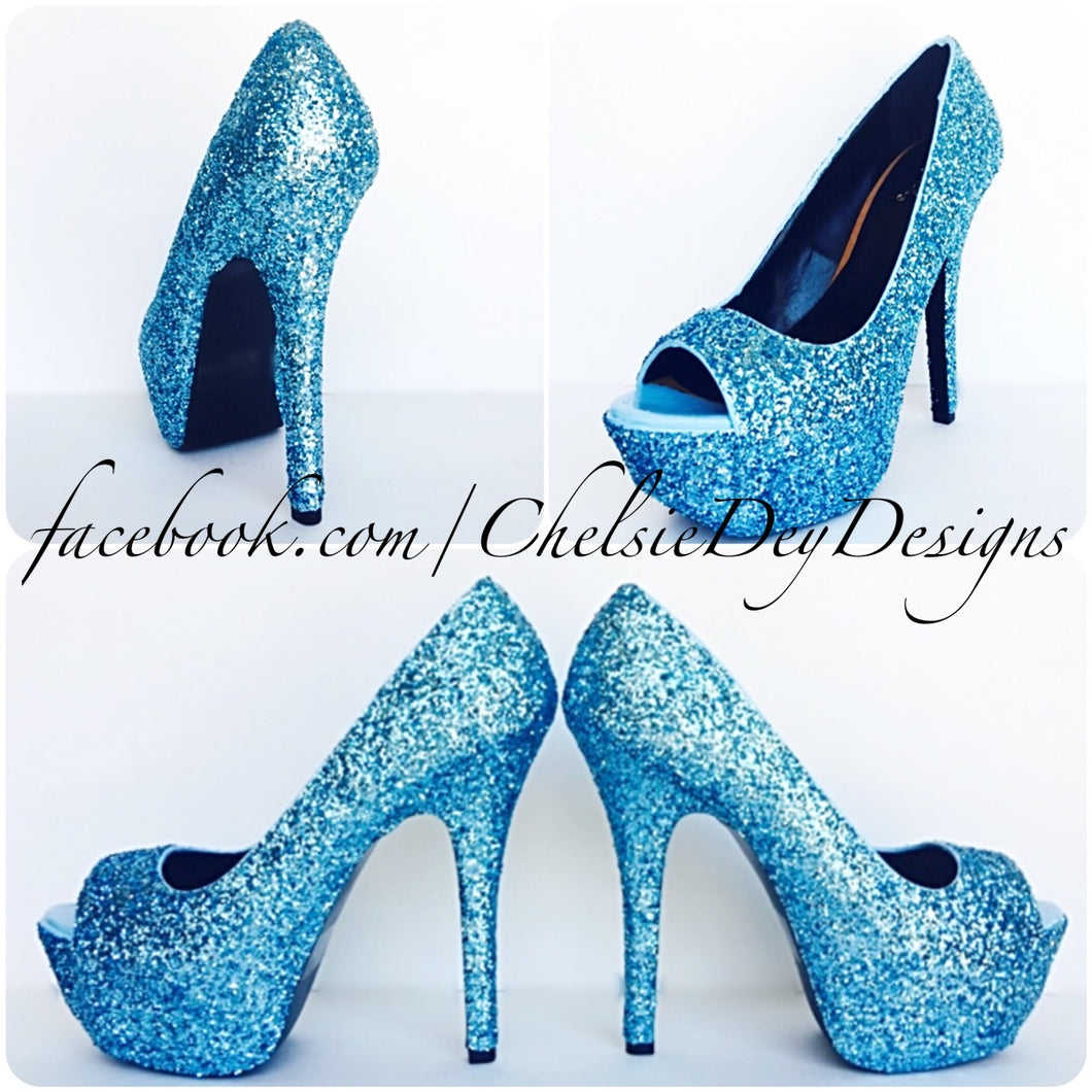 Glitter Peep Toe Pumps, Aqua Blue Wedding Open Toe High Heels