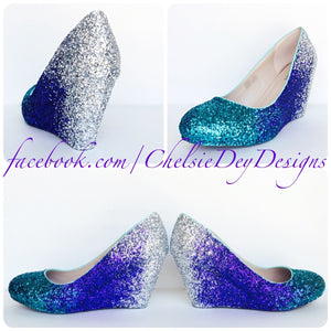 Teal Wedge Glitter Pumps, Purple Ombre Low Wedding High Heels