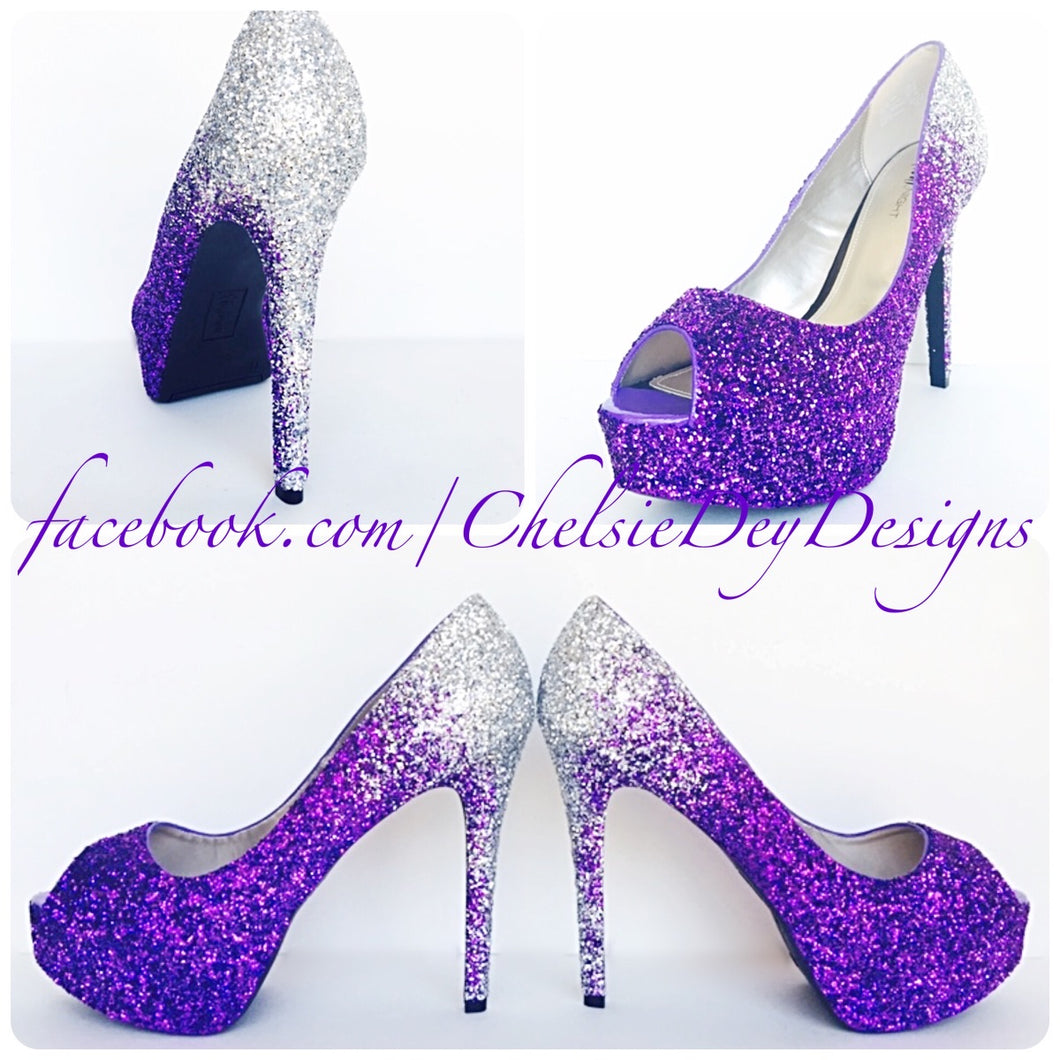 Purple Peep Toe Glitter Pumps, Violet Ombre Wedding High Heels