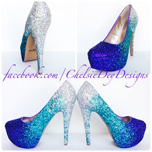 Ombre Glitter High Heels, Aqua Purple Wedding Shoes
