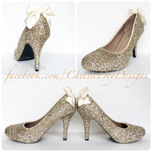 Gold Glitter High Heels, Low Platform Wedding Shoes
