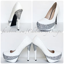 Glitter High Heels, Angel White Silver Wedding Shoes