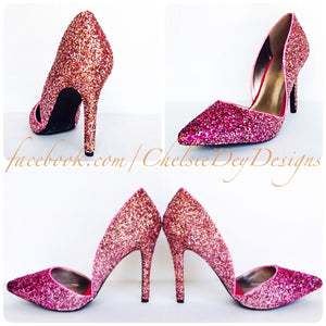 D'Orsay Glitter High Heels, Coral Pink Ombre Pointed Pumps