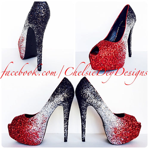 Glitter Peep Toe Pumps, Red Silver Black Ombre Wedding Open Toe High Heels