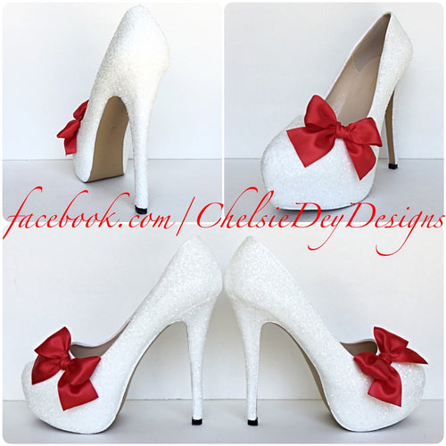 Glitter Wedding High Heels, White Platform Pumps with Red Pinup Bows