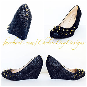 Black Wedge Glitter Pumps, Gold Spike Wedding High Heels