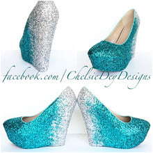 Teal Wedge Glitter Pumps, Robins Egg Ombre Wedding High Heels, Sparkly Prom Wedge