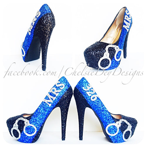 Police Glitter High Heels, Thin Blue Line Wedding Pumps