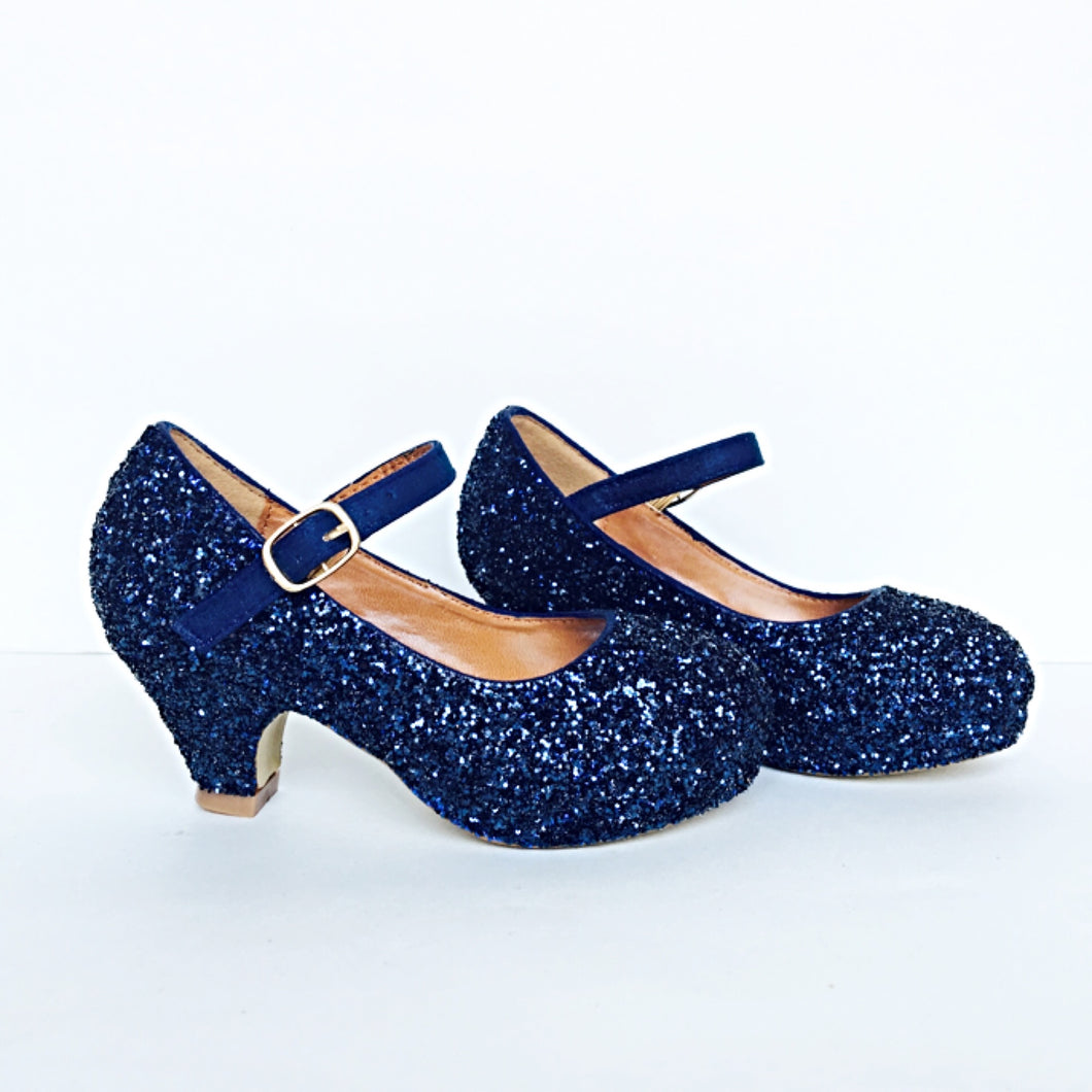 Navy Blue Glitter Girls Heels, Flower Girl Shoes