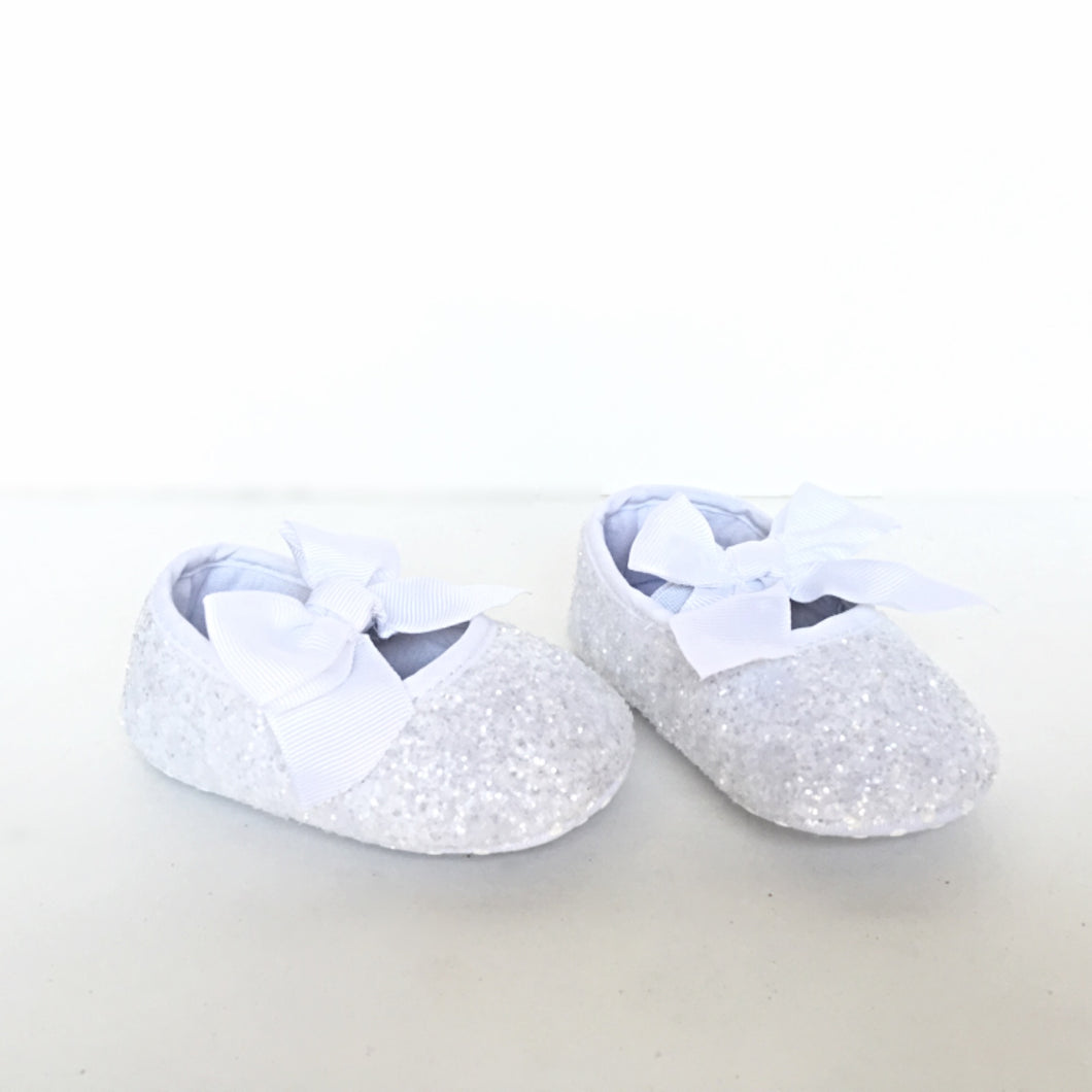 White Glitter Baby Shoes Flower Girl Shoes Chelsie Dey Designs