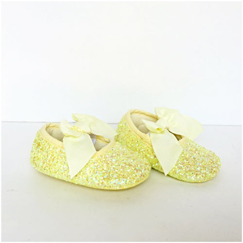 Yellow Glitter Baby Shoes, Flower Girl Shoes