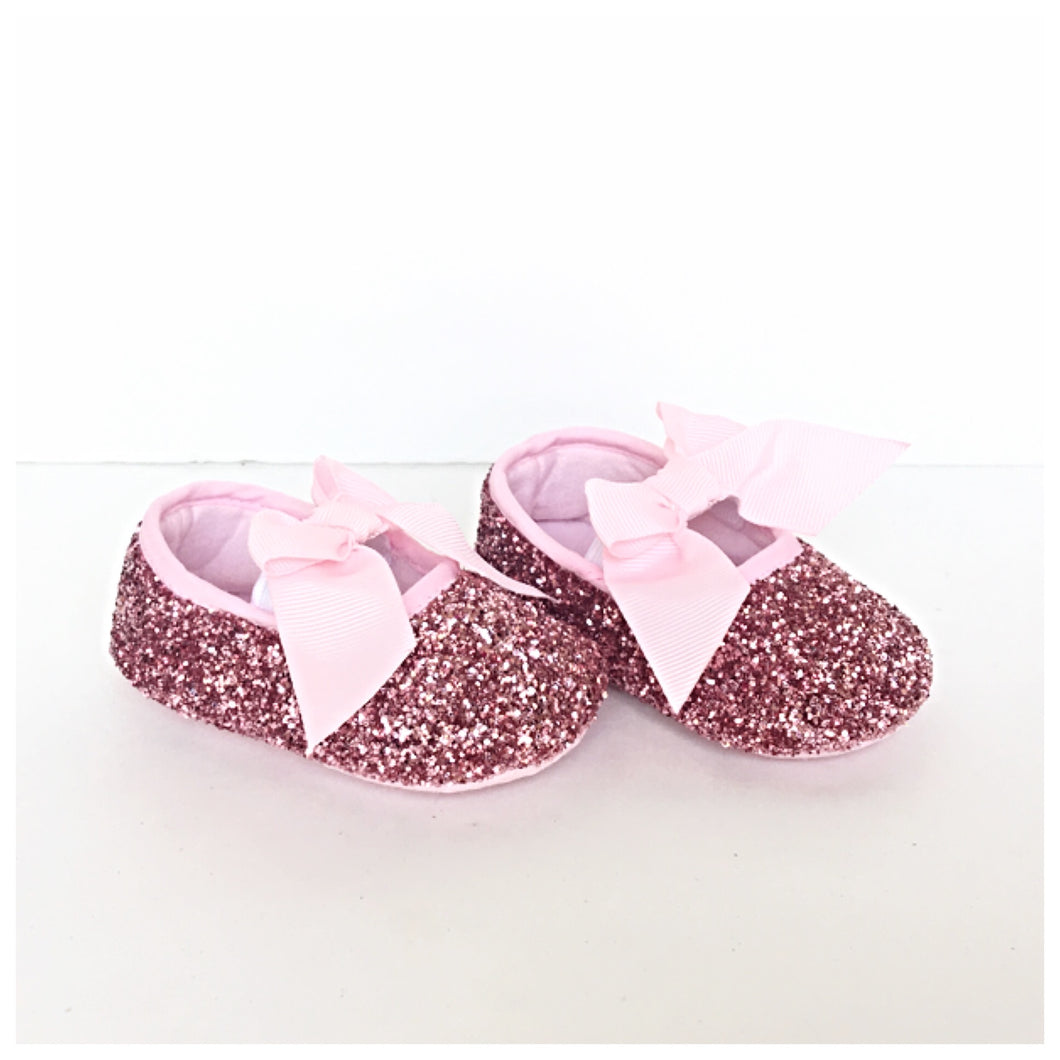 Pink Glitter Baby Shoes, Flower Girl