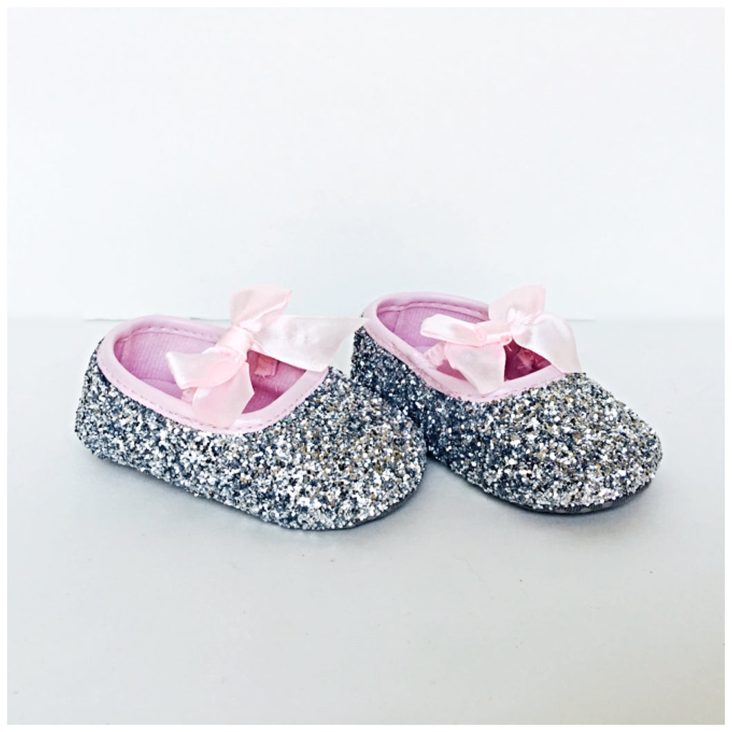 Silver Glitter Baby Shoes Pink Flower Girl Shoes Chelsie Dey Designs
