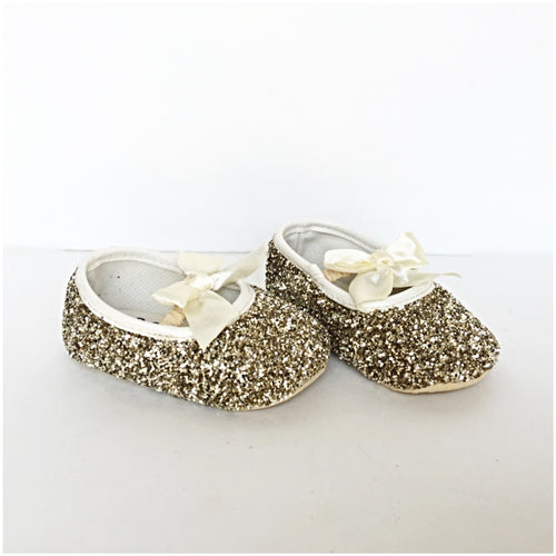 Gold Glitter Baby Shoes, Ivory Cream Flower Girl Shoes