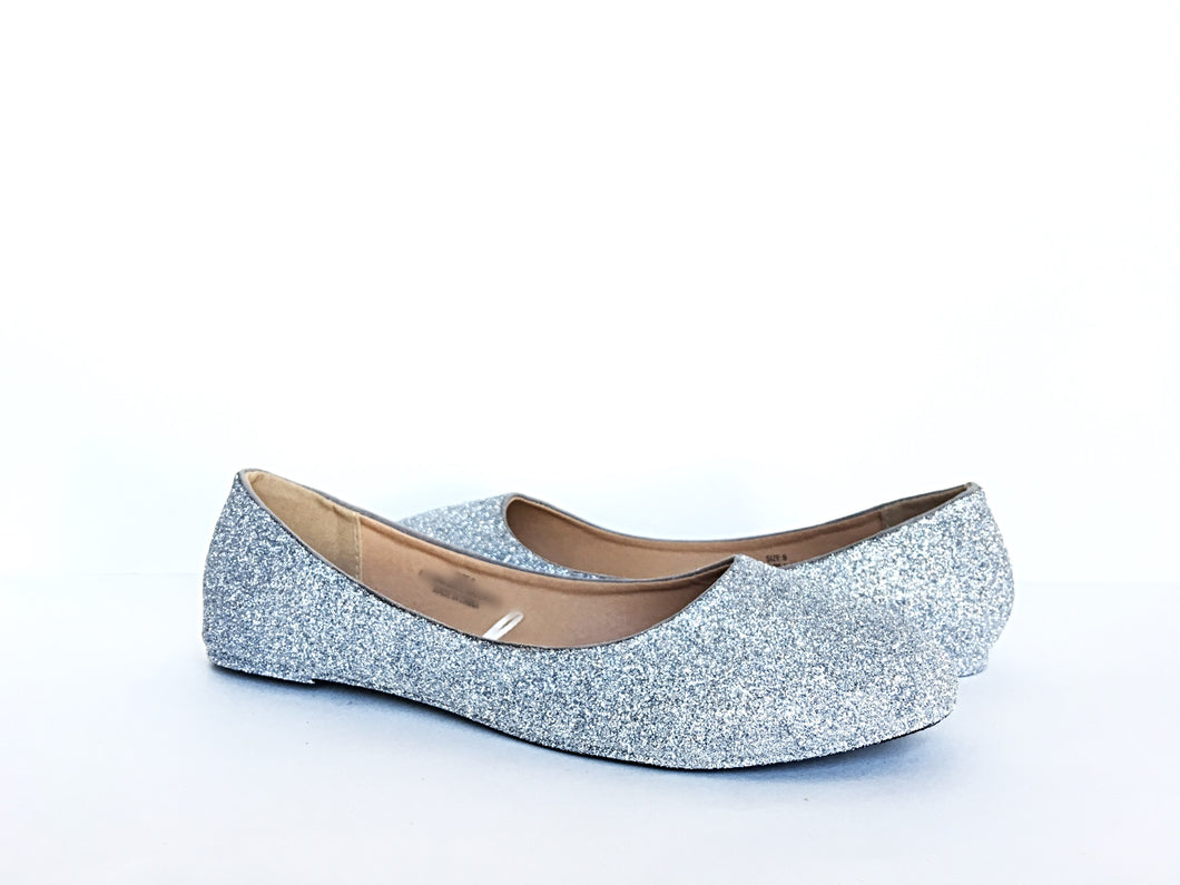 Silver Glitter Flats, Grey Ballet Shoes
