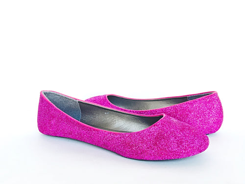 Hot Pink Glitter Flats, Magenta Ballet Shoes