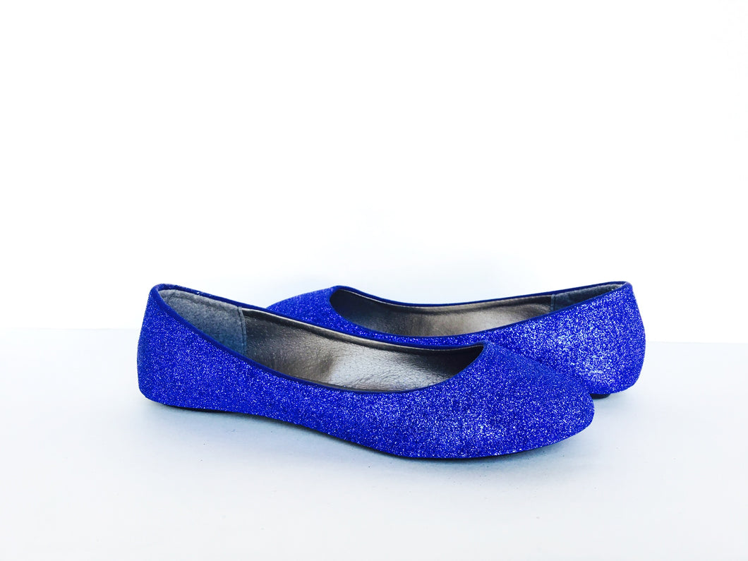 Royal Blue Glitter Flats, Ballet Shoes