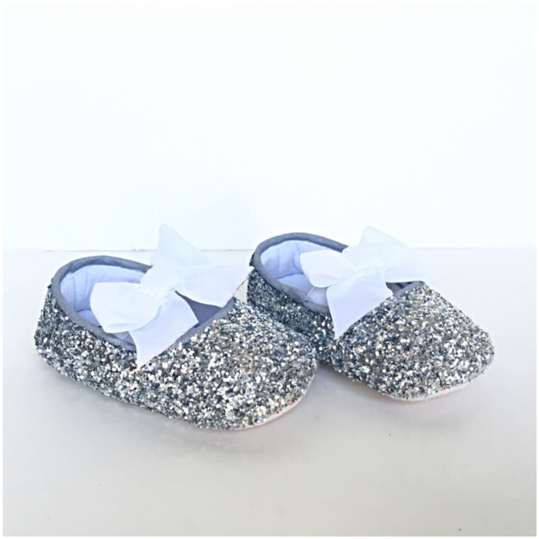 Silver Glitter Baby Shoes, White Flower Girl Shoes