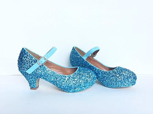 Light Blue Glitter Girls Heels, Aqua Flower Girl Shoes