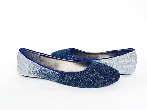 Navy Blue Glitter Flats, Silver Ombre Ballet Shoes