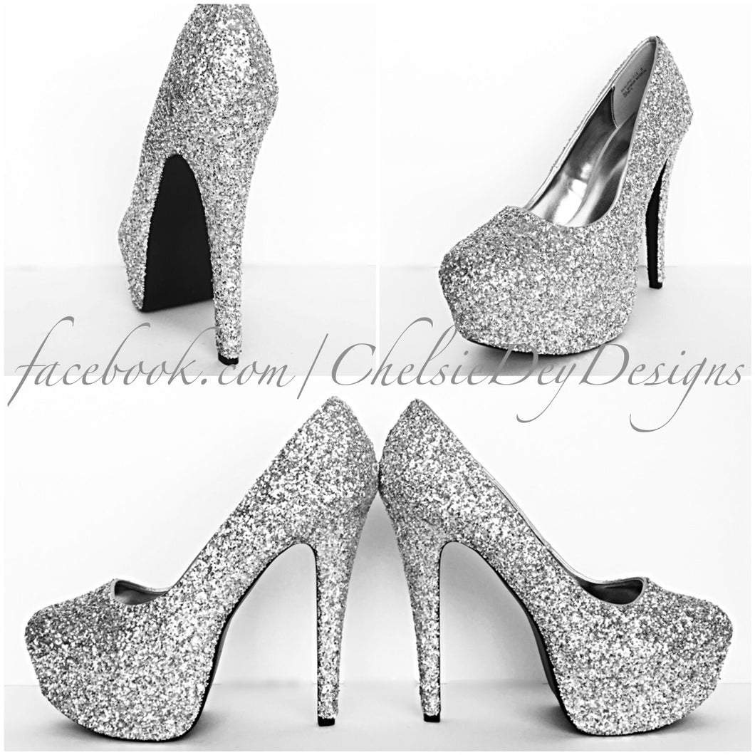 Silver Glitter High Heels, Grey Wedding Shoes, Sparkly Gray Prom Pumps