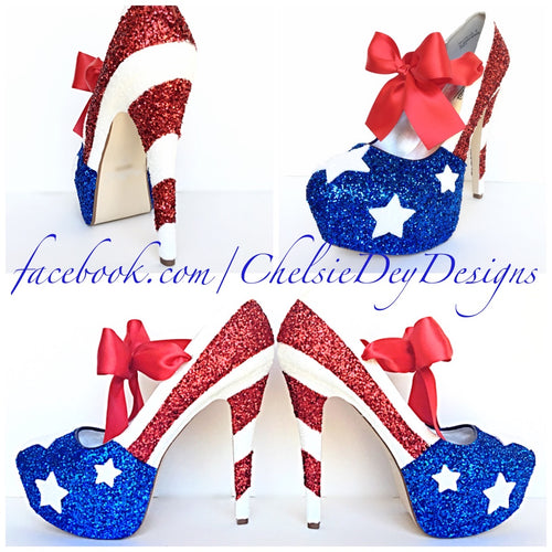 Patriotic Red White & Blue Sparkly Pumps 5 Inch with Bow