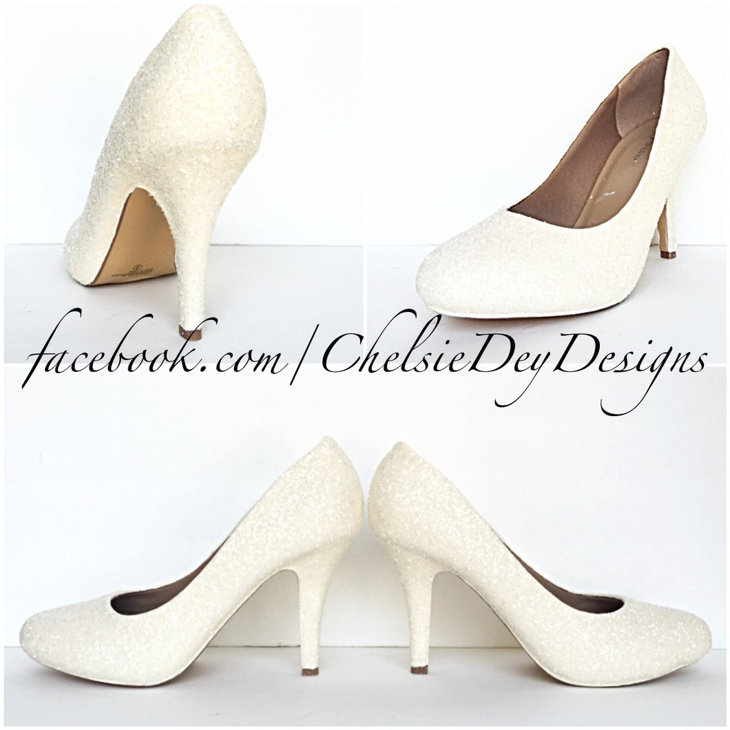 Ivory Glitter Wedding High Heels, Off White Platform Pumps
