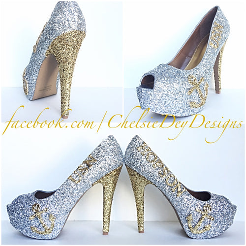 53b78ed41ea4 USN Glitter High Heels, Gold Anchor Peep Toe Heels, Military Ball Platform  Pumps