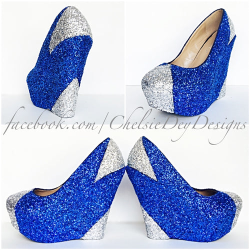 Blue Wedge Glitter Pumps, Silver Royal Blue Wedding High Heels, Sparkly Prom Pumps
