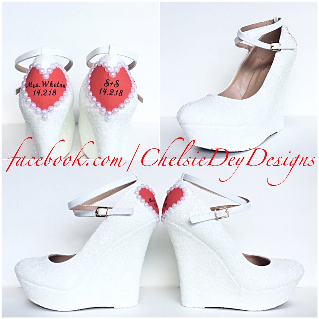 White Wedge Glitter Pumps, Pearl Heart Wedding High Heels
