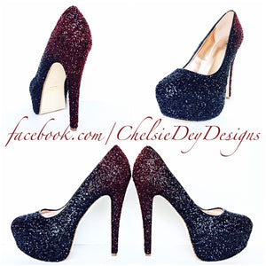 Burgundy Glitter High Heels, Red Black Ombre Platform Prom Pumps