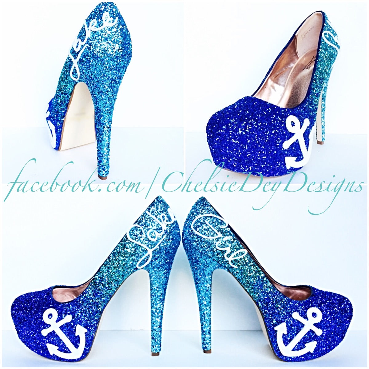 cc5c2f21508 Blue Ombre Glitter High Heels, Lake Girl Wedding Shoes, Sparkly Prom Pumps