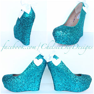 Teal Wedge Glitter Pumps, Robins Egg Wedding High Heels, Sparkly Heart Prom Wedge