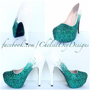 Aqua Ombre Glitter High Heels, White Mint Green Wedding Shoes, Sparkly Seafoam Pumps