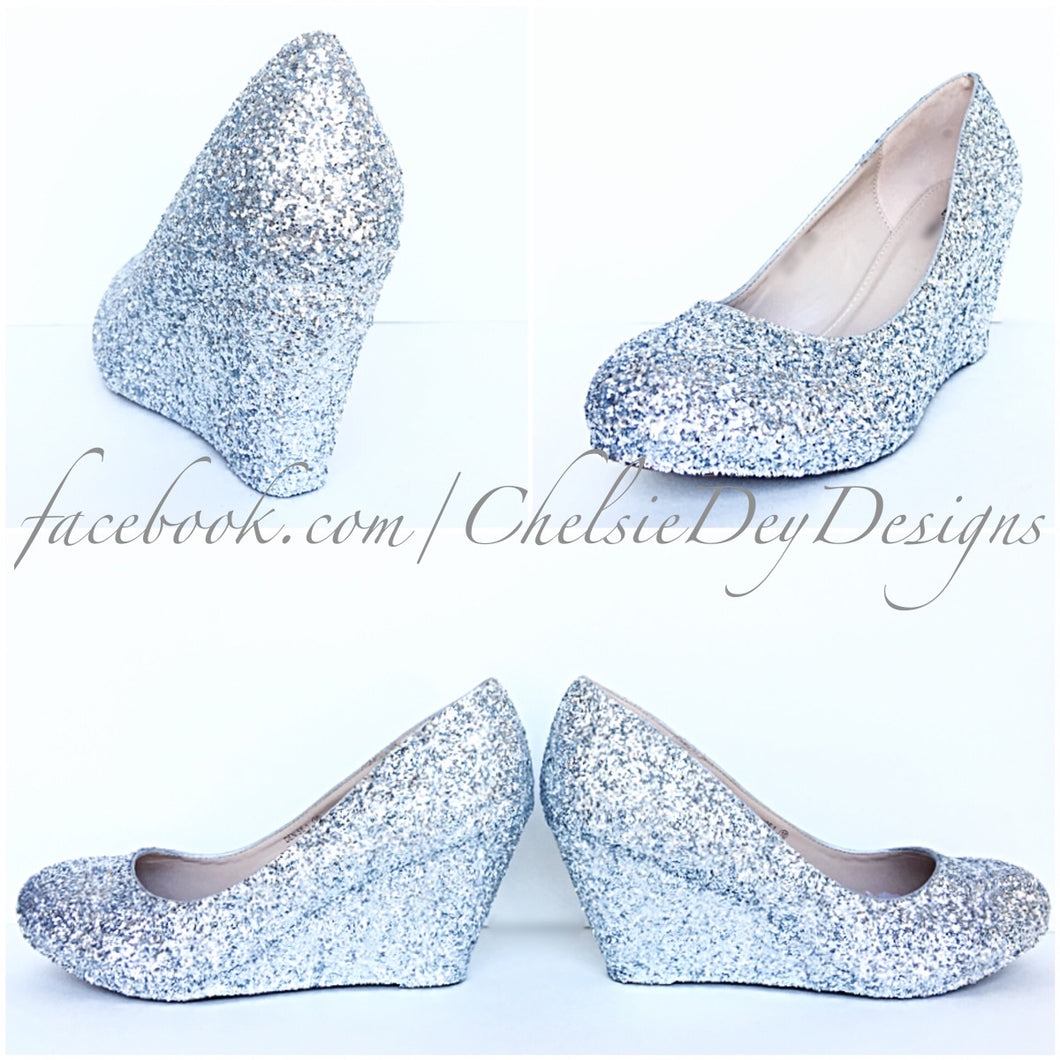 Silver Wedge Glitter Pumps, Gray Wedding High Heels