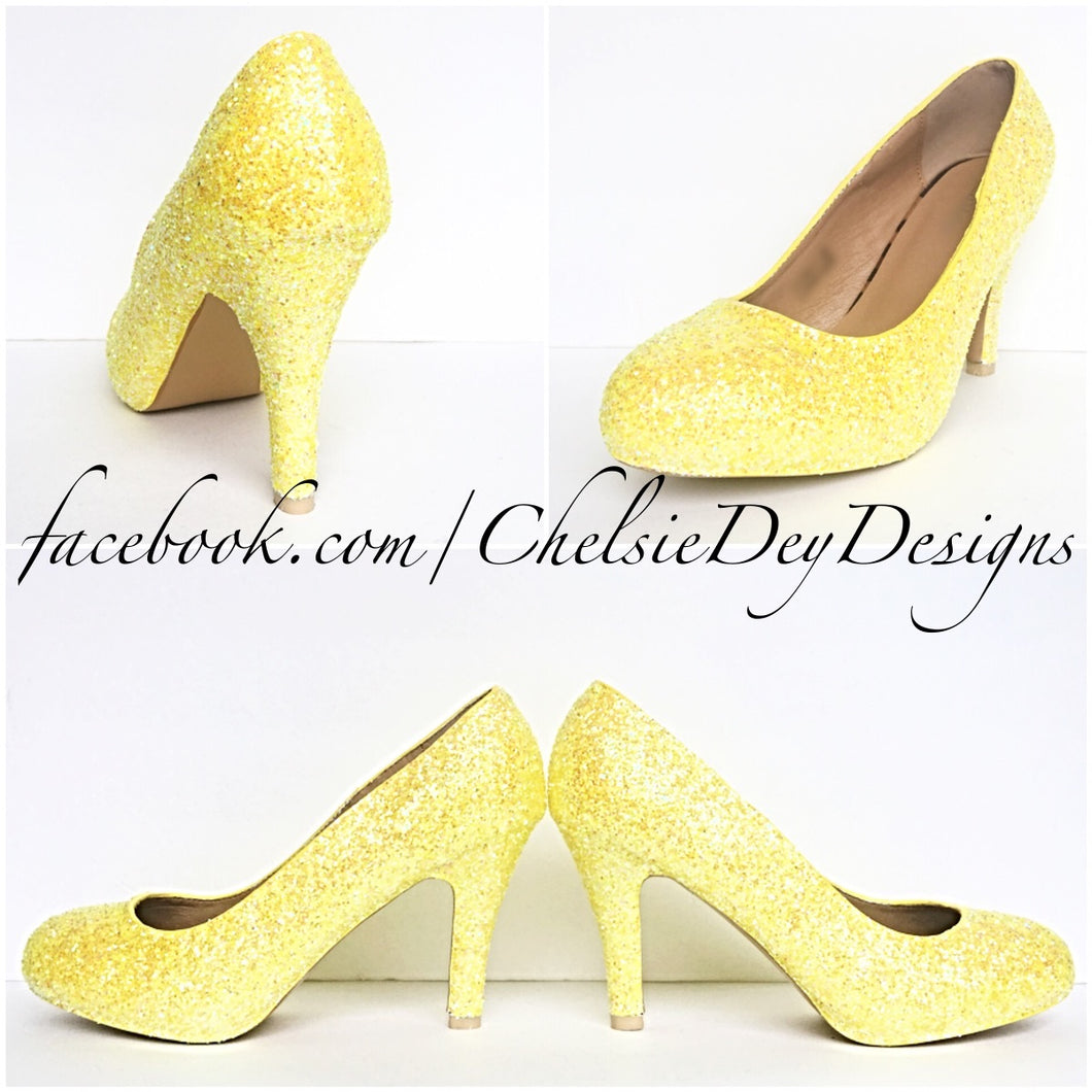 Yellow Glitter High Heels, Lemon Low Pumps, Wedding Shoes