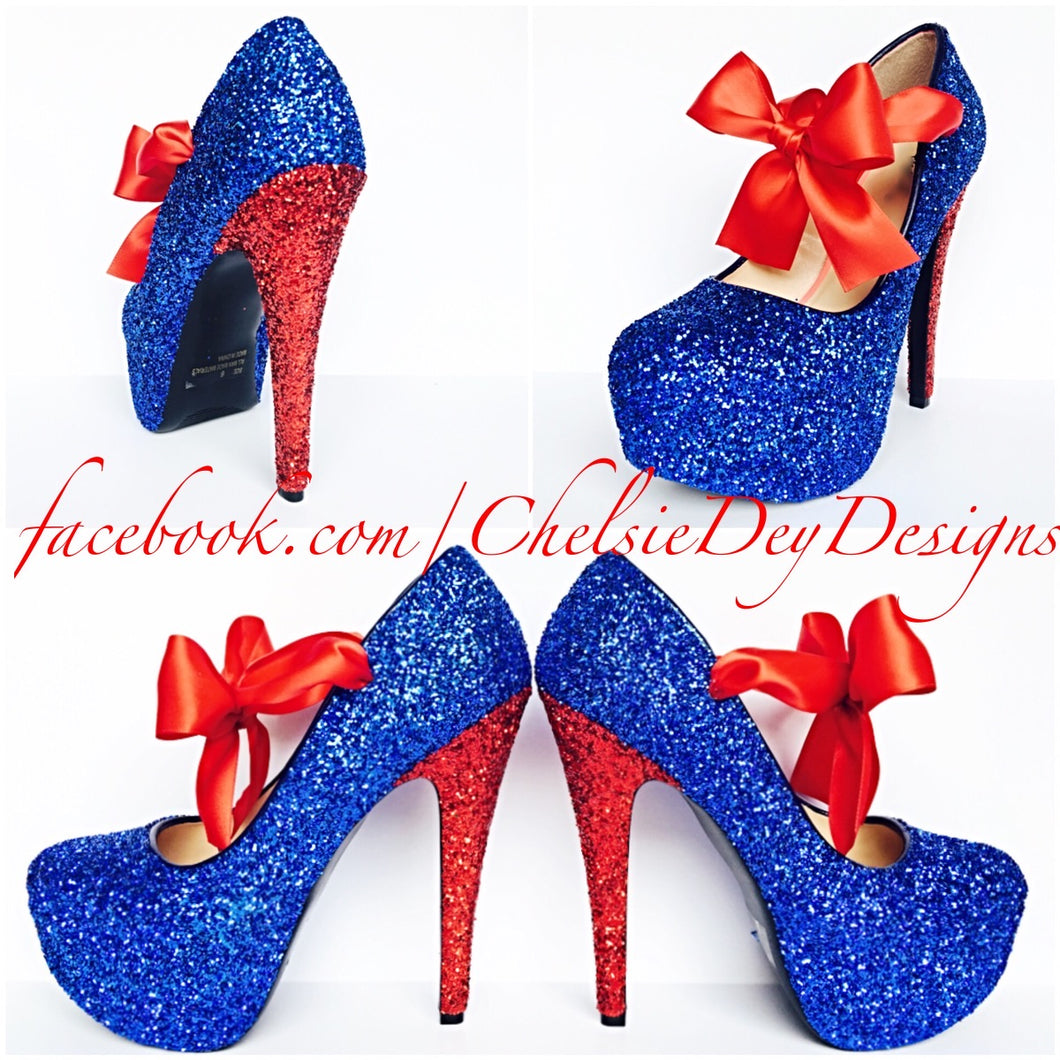 Royal Blue Glitter High Heels, Sparkly Prom Platform Pumps