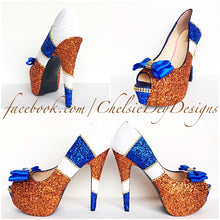 Orange Peep Toe Glitter Pumps, Blue White Open Toe High Heels