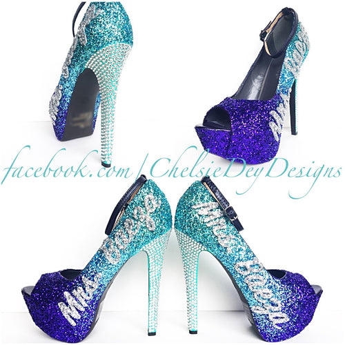 Glitter Wedding High Heels, Purple Ombre Peep Toe Platform Pumps, New Last Name Rhinestone Shoes