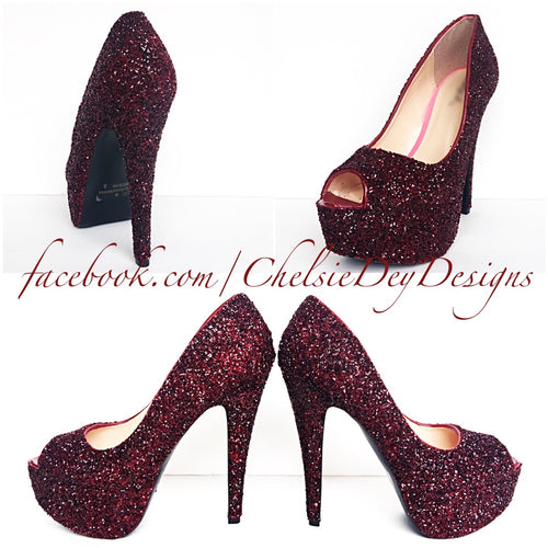 Burgundy Glitter Peep Toe Pumps, Red Open Toe Wedding High Heels