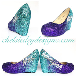 Tiffany Wedge Glitter Pumps, Purple Ombre Low Wedding High Heels