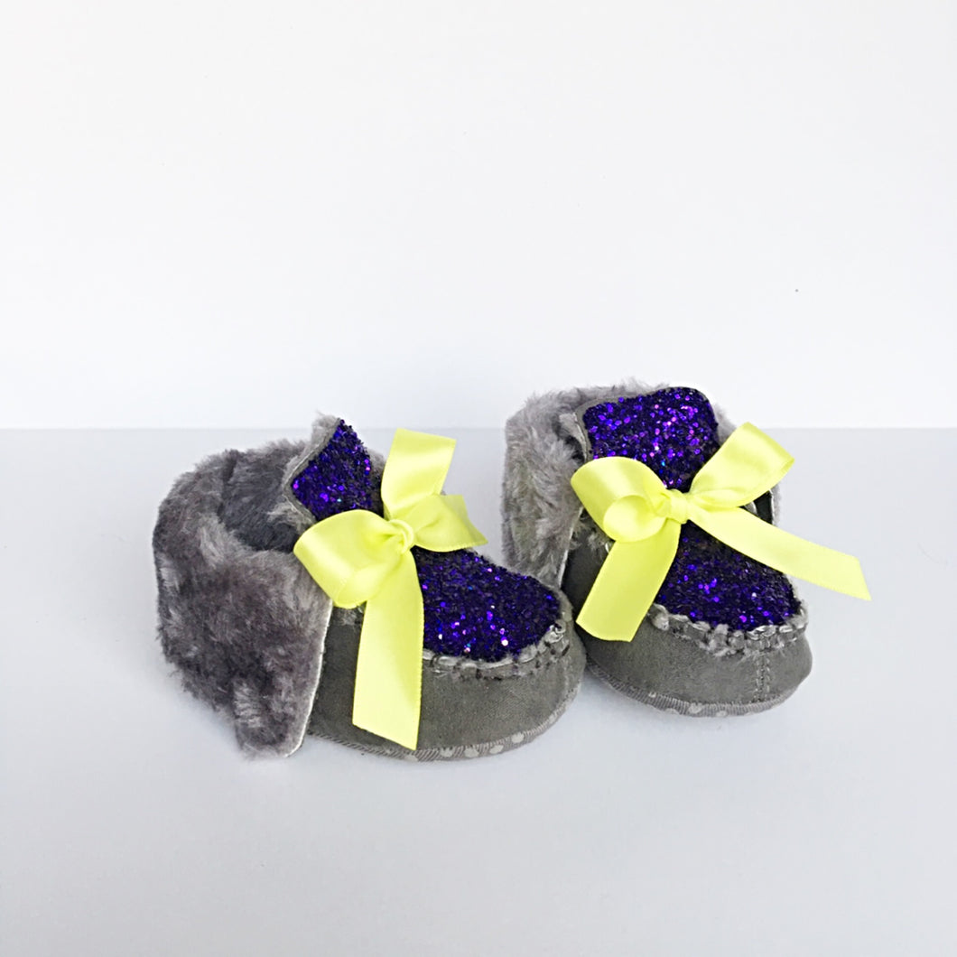 Purple Glitter Baby Booties, Gray Toddler Boots