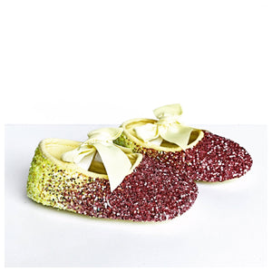 Yellow Glitter Baby Shoes - Pink Ombre Flower Girl Shoes