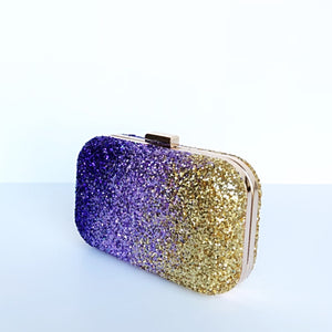 Glitter Clutch Bag - Gold Purple Lilac Ombre Purse