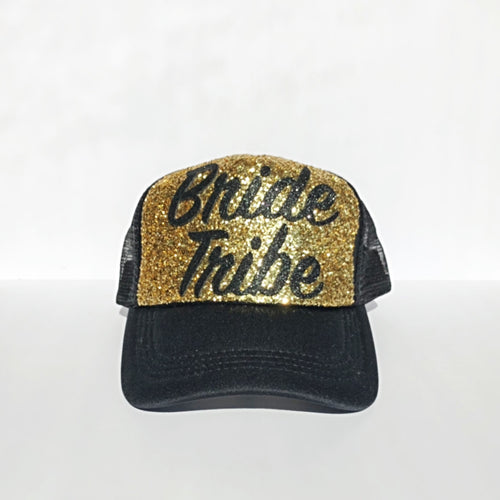 Glitter Hat - Bride Tribe Baseball Cap - Black Gold Sparkly Snapback Hat
