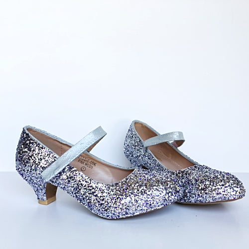 Purple & Silver Glitter Girls Heels, Flower Girl Shoes