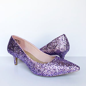 Lilac Glitter Pointed Pumps, Lavender Silver Purple Wedding Shoes