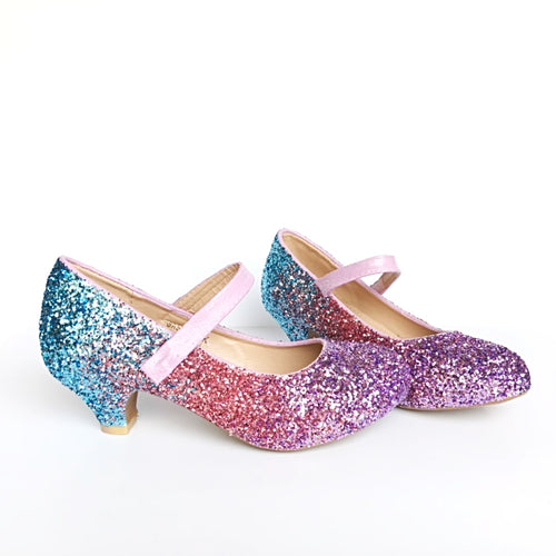 Lilac Glitter Girls Heels, Lavender Pink Light Blue Flower Girl Shoes