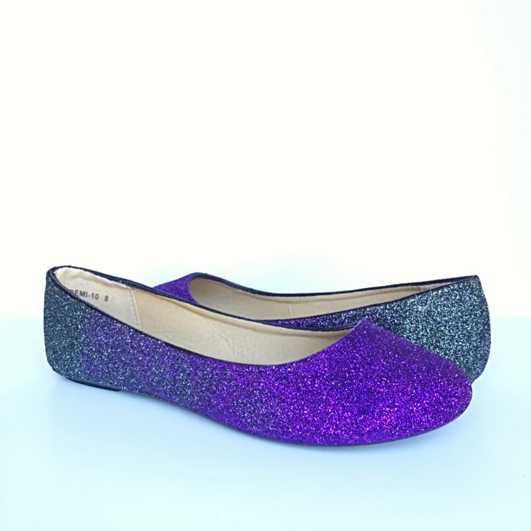 Purple Ombre Glitter Flats, Navy Blue Ballet Shoes