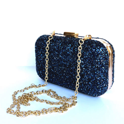Glitter Clutch Bag - Navy Blue Cobalt Purse